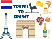 Symbole von Frankreich set tourismus Lizenzfreie Abbildung