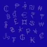 Symbole von Schlagblasen des Geldes Stockbild