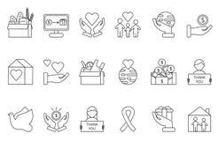 Symbole wolontariuszi i dobroczynność organisations Monolines ikony ustawiać royalty ilustracja