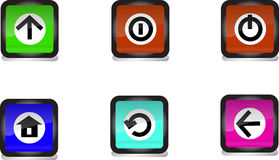 Symbolen applicerar till knappar, vectocillustratör Arkivbilder