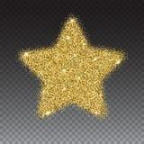 Symbolen av denpekade stjärnan med guld mousserar och blänker stock illustrationer
