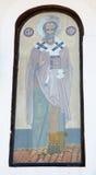 Symbolen av St Nicholas på väggen av templet i kloster av St Nicholas royaltyfria bilder