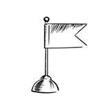 Symbolen av tabellflaggan på rund ställning skissar Royaltyfri Fotografi