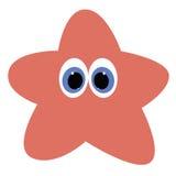 Symbolen behandla som ett barn sjöstjärnan på en vit bakgrund Royaltyfri Foto