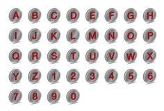Symbolen 3D pressar ut alfabetstilsortsA-Z Arkivbild