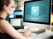Symbolen för applikationprogrammet applicerar karriärbegrepp arkivfoton
