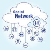 Symbolen för det sociala nätverket Arkivbild
