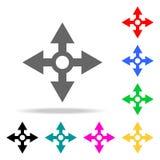 symbolen för fyra pilar - underteckna alla riktningar Beståndsdelar i mång- kulöra symboler för mobila begrepps- och rengöringsdu Royaltyfri Fotografi