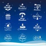 Symbolen för glad jul och för det lyckliga nya året ställde in Typografi text de stock illustrationer