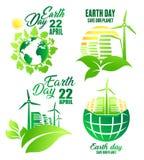 Symbolen för jorddagen för ekologi och miljön planlägger royaltyfri illustrationer