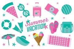 Symbolen för sommarsemestern ställde in i plan tecknad filmstil stock illustrationer