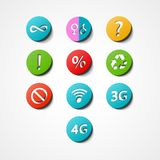 Symbolen geplaatst Webpictogram Stock Foto's