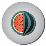 Symbolen gjorde randig vattenmelon med frö i ett snitt på en grå bakgrund Royaltyfria Bilder