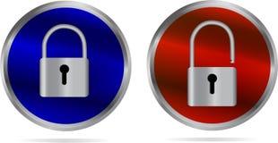 Symbolen - låsa och lås upp Arkivbild