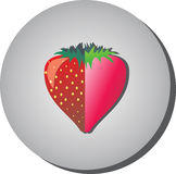Symbolen med jordgubbar i sammanhanget av lägenheten målade i vageln Royaltyfri Fotografi