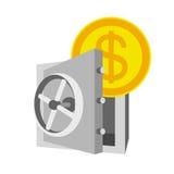 Symbolen med kassaskåpet och pengar, sparar pengar Fotografering för Bildbyråer