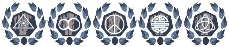 Symbolen op pentagoon met geïsoleerd bloemendecoratie Stock Afbeelding