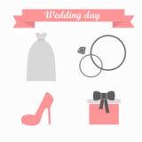 Symbolen på ett brölloptema i pastellfärgade skuggor Arkivfoto