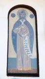 Symbolen på väggen av templet i kloster av St Nicholas royaltyfria bilder