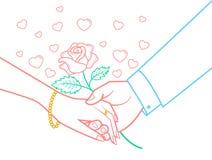 Symbolen räcker vänner Valentine Day stock illustrationer