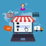 Symbolen shoppar direktanslutet försäljningsinternet Plan stil Royaltyfria Foton