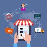 Symbolen shoppar direktanslutet försäljningsinternet Plan stil Arkivfoto