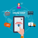 Symbolen shoppar direktanslutet försäljningsinternet Plan stil Royaltyfri Fotografi