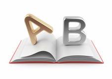 Symbolen van alfabet op 3D boek. Woordenboek royalty-vrije illustratie