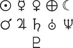 Symbolen van alle planeten Vector Illustratie