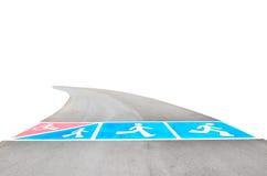 Symbolen van de weg voor oefening op openbaar park stock afbeeldingen