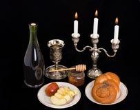 Symbolen van het Joodse nieuwe jaar Stock Foto
