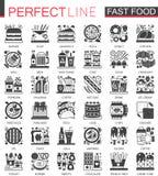 Symbolen van het snel voedsel de klassieke zwarte miniconcept De moderne vector geplaatste illustraties van het pictogrampictogra vector illustratie
