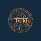 Symbolen van India in de vorm van cirkel Stock Afbeeldingen
