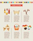 Symbolen van Joodse vakantie purim Het ontwerp van Infographics vector illustratie