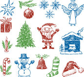 Symbolen van Kerstmis Stock Foto's