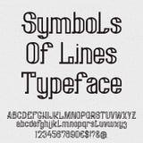 Symbolen van lijnenlettersoort Geïsoleerde zwarte kapitaal en kleine letters, aantallen Royalty-vrije Stock Foto's
