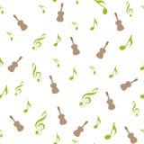 Symbolen van muziek Zestiende, Achtste, kwart en halve noot met drievoudige en bassleutel royalty-vrije illustratie