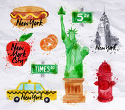 Symbolen van New York crumled document stock illustratie