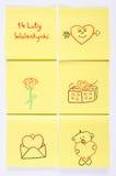 Symbolen van Valentijnskaartendag op document, poetsmiddelinschrijving 14 worden getrokken Februari-Valentijnskaarten, symbool va Stock Fotografie