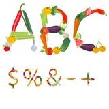 Symbolen van vruchten en groenten worden gemaakt die Royalty-vrije Stock Foto's