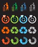 symboler återanvänder seten Arkivbild