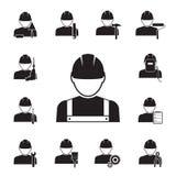 Symboler av arbetare som kopplas ihop med olika hjälpmedel royaltyfri illustrationer