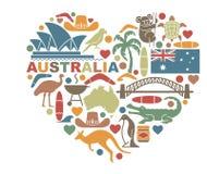 Symboler av Australien i formen av en hjärta royaltyfri illustrationer