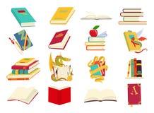 Symboler av bokvektoruppsättningen i en plan design utformar Böcker i en bunt som är öppen, i en grupp som stängs, på hyllan avlä vektor illustrationer