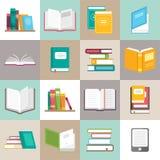 Symboler av bokvektoruppsättningen i en plan stil stock illustrationer