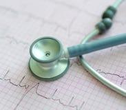 Symboler av Cardiology - stetoskop och ECG royaltyfri bild