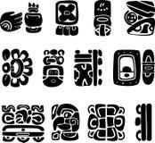 Symboler av de etniska logoerna för maya av sydliga Amerika, indiska teckningar, Mexiko, Arkivfoton
