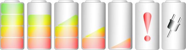 Symboler av den jämna indikatorn för batteri Royaltyfri Fotografi