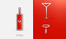 Symboler av en flaska, ett exponeringsglas och en korkskruv vektor illustrationer