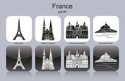 Symboler av Frankrike vektor illustrationer